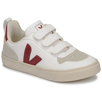 Shoes Children Low top trainers Veja SMALL-V-10-VELCRO White / Bordeaux