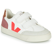 Shoes Girl Low top trainers Veja SMALL-V-12-VELCRO White / Pink / Gold