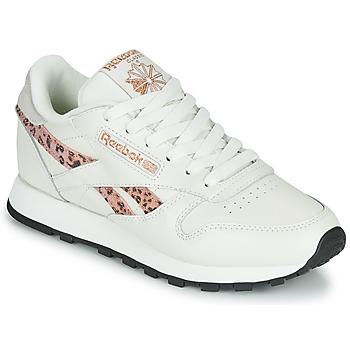 Shoes Women Low top trainers Reebok Classic CL LTHR White / Leopard