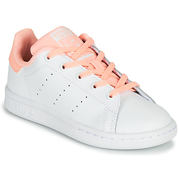 Shoes Girl Low top trainers adidas Originals STAN SMITH C White / Pink