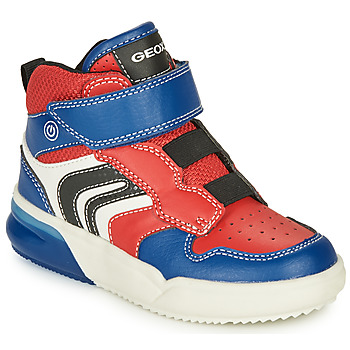 Shoes Boy High top trainers Geox GRAYJAY Red / Blue