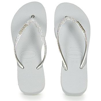 Shoes Women Flip flops Havaianas SLIM FLATFORM GLITTER Silver