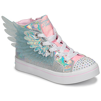 Shoes Girl High top trainers Skechers TWI-LITES 2.0 Silver / Pink / Led