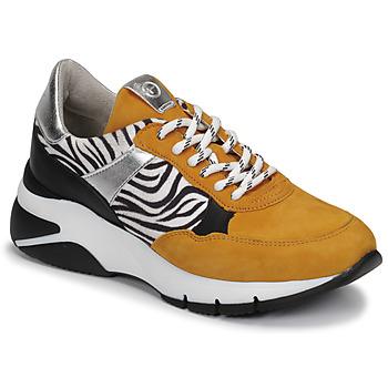 Shoes Women Low top trainers Tamaris ELLE Mustard / Black / Zebra