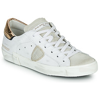 Shoes Women Low top trainers Philippe Model PARIS X VEAU CROCO White / Gold