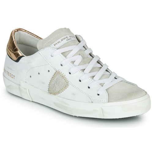 Shoes Women Low top trainers Philippe Model PARIS X VEAU CROCO White / Gold