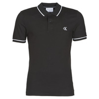 material Men short-sleeved polo shirts Calvin Klein Jeans TIPPING SLIM POLO Black