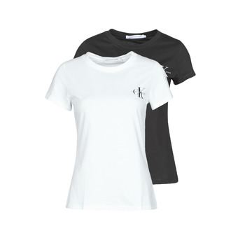 material Women short-sleeved t-shirts Calvin Klein Jeans 2 PACK SLIM T-SHIRT White