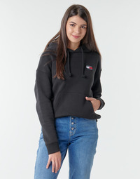 material Women sweaters Tommy Jeans TJW TOMMY BADGE HOODIE Black