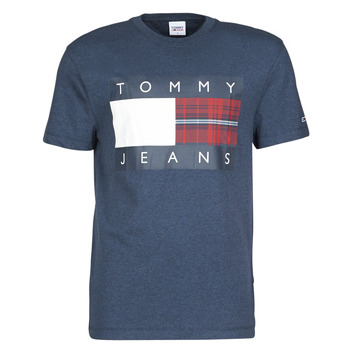 material Men short-sleeved t-shirts Tommy Jeans TJM PLAID CENTRE FLAG TEE Marine