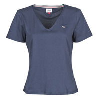 material Women short-sleeved t-shirts Tommy Jeans TJW SLIM JERSEY V NECK Marine