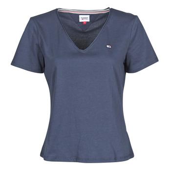 material Women short-sleeved t-shirts Tommy Jeans TJW SLIM JERSEY V NECK Marine
