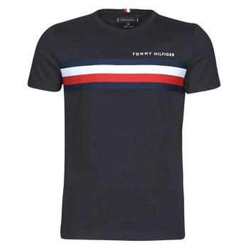 material Men short-sleeved t-shirts Tommy Hilfiger GLOBAL STRIPE TEE Marine