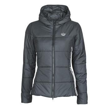 material Women Duffel coats adidas Originals SLIM JACKET Black