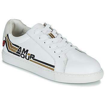 Shoes Women Low top trainers Bons baisers de Paname SIMONE AMOUR RETRO White / Gold