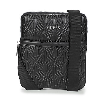 Bags Men Pouches / Clutches Guess BALDO MINI FLAT CROSSBODY Black