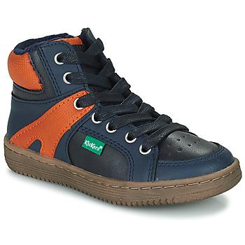 Shoes Boy High top trainers Kickers LOWELL Marine / Orange
