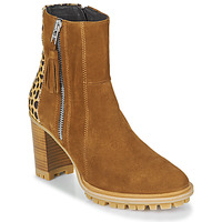 Shoes Women Ankle boots Philippe Morvan LOKS V1 VELOURS CAMEL/LEOP Brown / Leopard