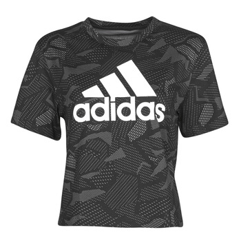 material Women short-sleeved t-shirts adidas Performance W E AOP T Black