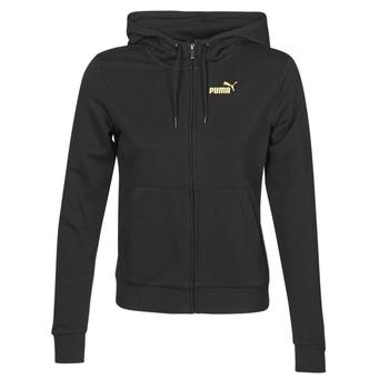 material Women Jackets Puma METALLIC FZ HOODY TR Black / Gold
