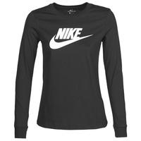 material Women Long sleeved shirts Nike W NSW TEE ESSNTL LS ICON FTR Black