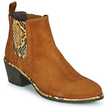 Shoes Women Ankle boots Regard NOISY V2 VELOURS SAFRAN Brown