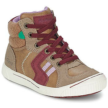 Shoes Girl High top trainers Kickers ZIGUERS BEIGE / BORDEAUX