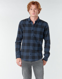 material Men long-sleeved shirts Only & Sons  ONSGUDMUND Marine / Black