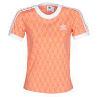 material Women short-sleeved t-shirts adidas Originals 3 STRIPES TEE Orange
