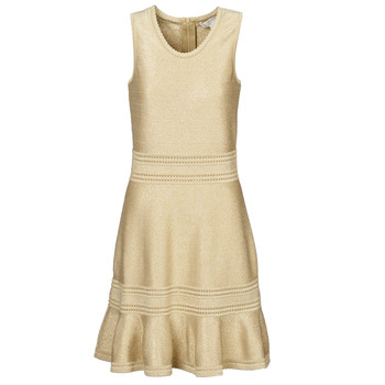 material Women Short Dresses MICHAEL Michael Kors FIT FALRE SLVLESS DRS Gold