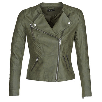 material Women Leather jackets / Imitation leather Only ONLAVA Kaki