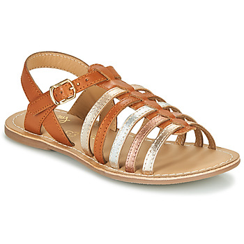 Shoes Girl Sandals Little Mary BARBADE Cognac / Pink