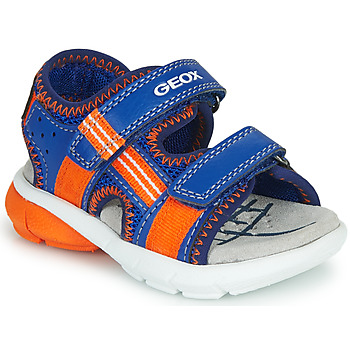 Shoes Boy Sandals Geox B SANDAL FLEXYPER BO Blue / Orange