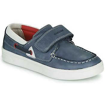 Shoes Children Loafers Geox J DJROCK GARÇON Blue / White
