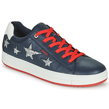 Shoes Girl Low top trainers Geox J REBECCA GIRL Blue / Red / Silver