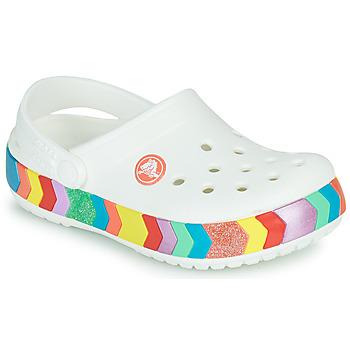 Shoes Girl Clogs Crocs CROCBAND CHEVRON BEADED CLOG K White / Multicoloured