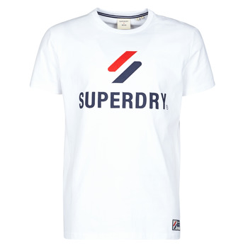 material Men short-sleeved t-shirts Superdry SPORTSTYLE CLASSIC TEE White