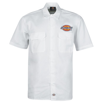 material Men short-sleeved shirts Dickies CLINTONDALE S/S WORK SHIRT WHITE White