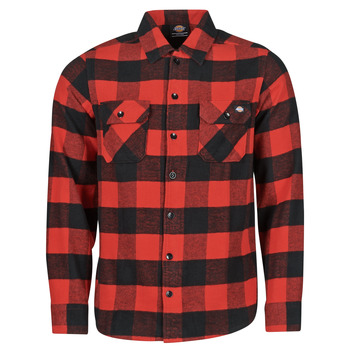 material Men long-sleeved shirts Dickies NEW SACRAMENTO SHIRT RED Red / Black