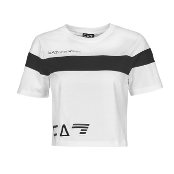 material Women short-sleeved t-shirts Emporio Armani EA7 3KTT05-TJ9ZZ-1100 White / Black