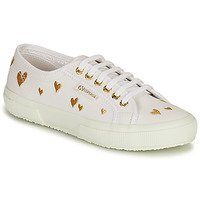 Shoes Women Low top trainers Superga 2750 HEARTS EMBRODERY White / Gold