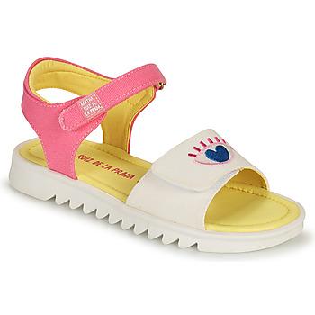 Shoes Girl Sandals Agatha Ruiz de la Prada SMILEY White / Pink