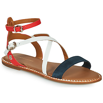 Shoes Women Sandals Tommy Hilfiger ESSENTIAL TOMMY FLAT SANDAL White / Blue / Red