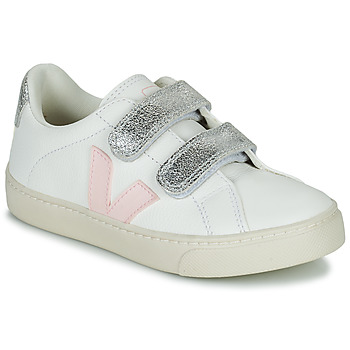 Shoes Girl Low top trainers Veja SMALL ESPLAR VELCRO White / Gold
