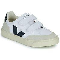 Shoes Boy Low top trainers Veja SMALL V-12 VELCRO White / Blue