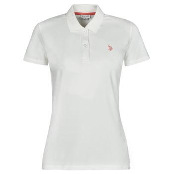 material Women short-sleeved polo shirts U.S Polo Assn. LOGO POLO SS White