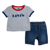 material Boy Sets & Outfits Levi's RINGER TEE DENIM SHORT SET Multicolour