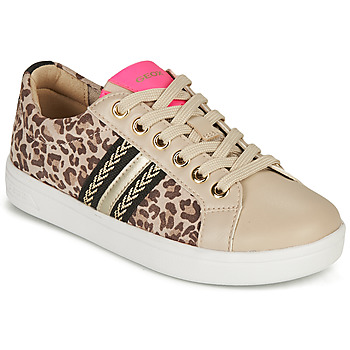Shoes Girl Low top trainers Geox DJROCK GIRL Beige / Leopard / Pink