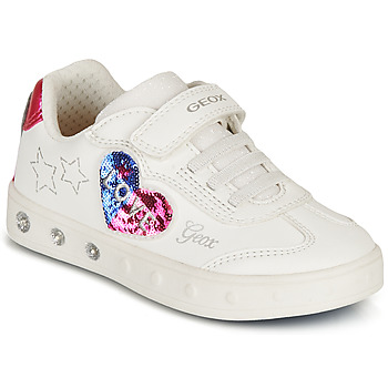 Shoes Girl Low top trainers Geox SKYLIN GIRL White / Black / Pink