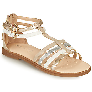 Shoes Girl Sandals Geox J SANDAL KARLY GIRL Beige / Silver / White